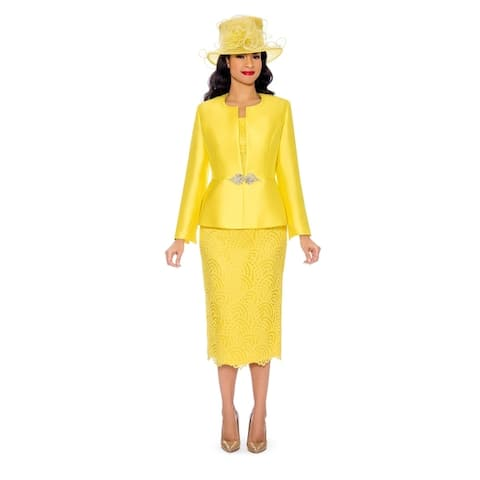 Giovanna Collection Women's 3-pc Silk Twill and Lace Skirt Suit