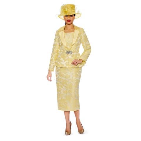 Giovanna Collection Women's 3-piece Notch Collar Brocade Skirt Suit