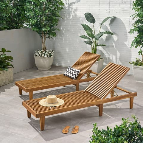 Nadine Outdoor Adjustable Wood Chaise Lounge (Set of 2) by Christopher Knight Home