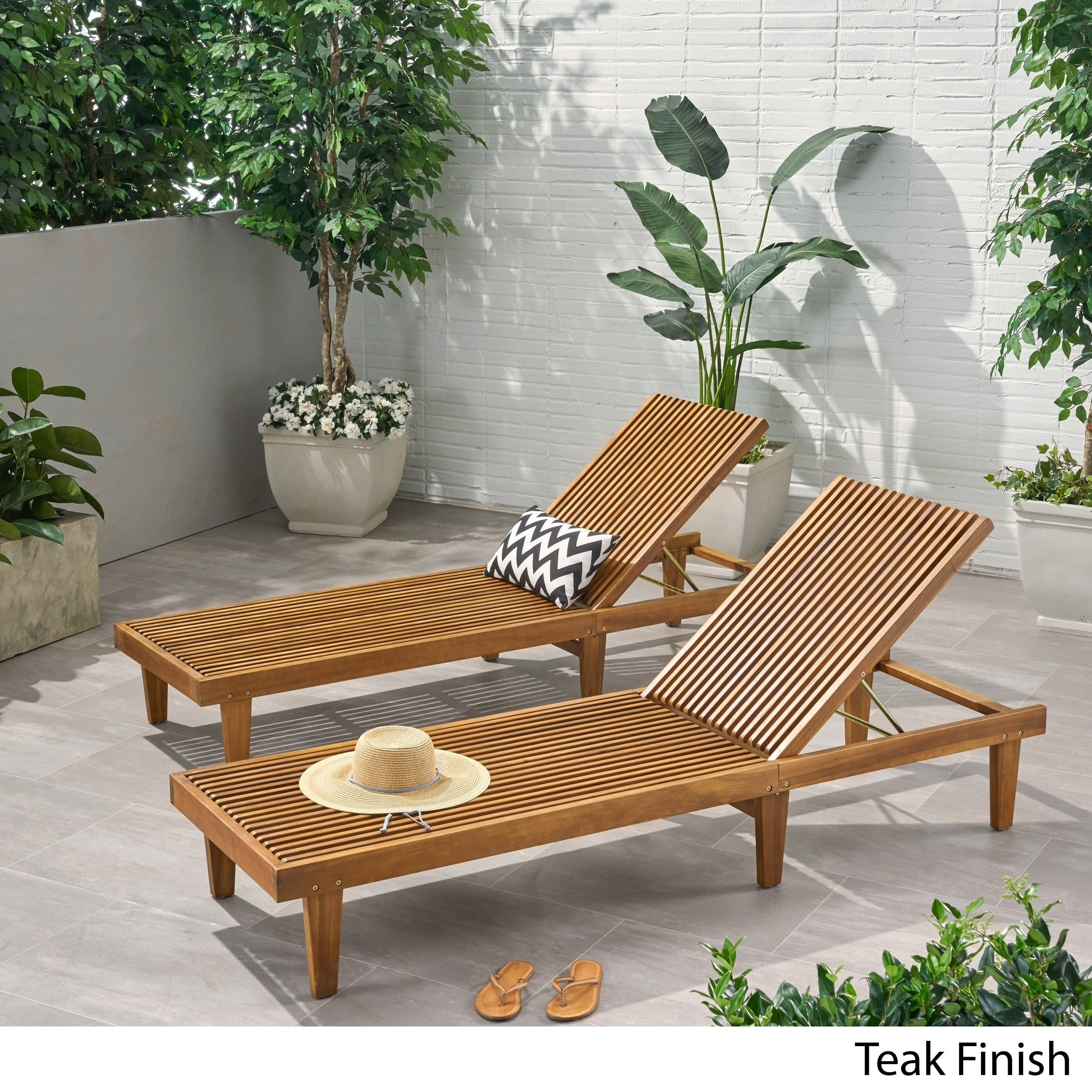 - Shop Nadine Outdoor Adjustable Wood Chaise Lounge (Set Of 2) By