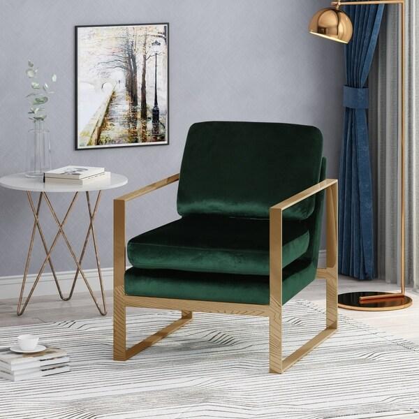 Christopher Knight Home Doddridge Modern Glam Arm Chair with Velvet Cushions