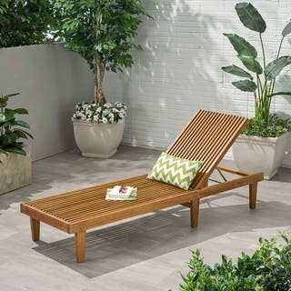 Nadine Outdoor Adjustable Wood Chaise Lounge by Christopher Knight Home