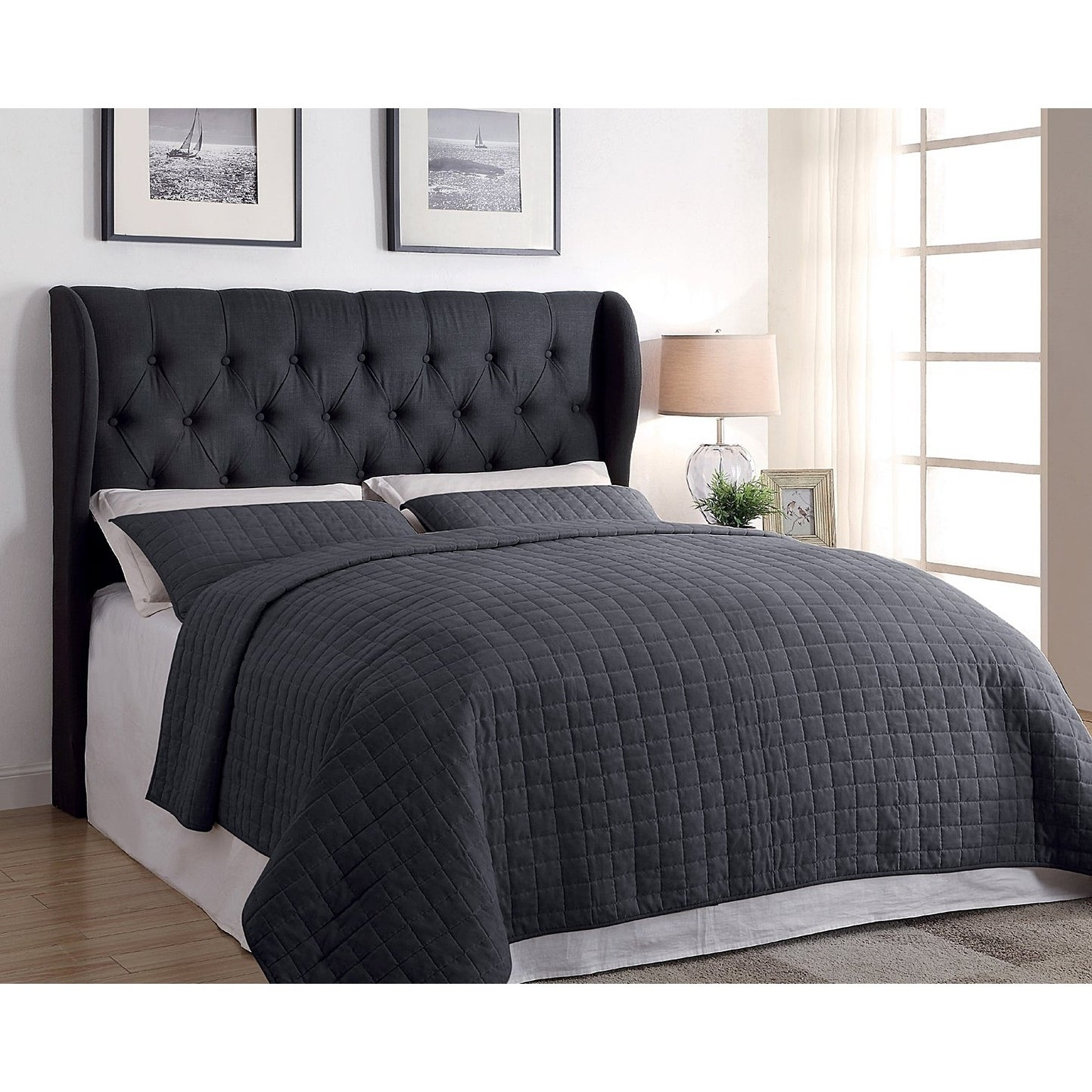 Tribeca Queen Size Wingback Button Tufted Charcoal Fabric Headboard Overstock 27594213