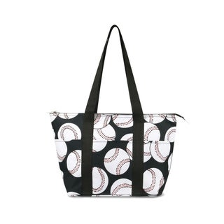 Link to Zodaca Fashion Insulated Zipper Shoulder Lunch Bag Tote Cooler for Picnic Travel, Baseball Print Similar Items in Picnic