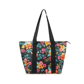 Zodaca Fashion Insulated Zipper Shoulder Lunch Bag Tote Cooler for Picnic Travel, Marion Floral Print