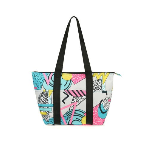 Zodaca Fashion Insulated Zipper Shoulder Lunch Bag Tote Cooler for Picnic Travel, Geometric Colorway