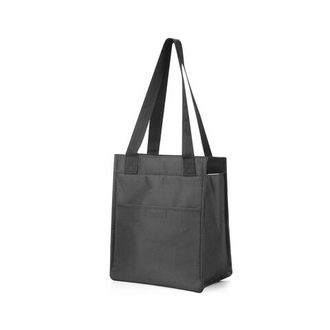 """Zodaca 11.5"""" Insulated Zipper Lunch Bag Tote Cooler for Picnic Travel, Black"""