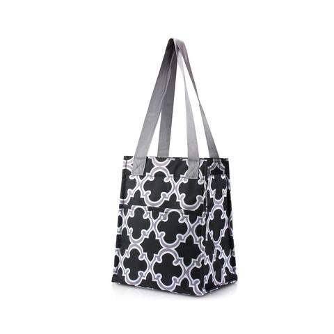 Zodaca Stylish Women Insulated Lunch Tote Bag Picnic Travel Food Box Zipper Carry Bag, Black Quatrefoil