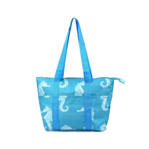 Zodaca Insulated Large Zipper Handbag Lunch Tote Carry Bag for Travel Grocery Shopping, Seahorse