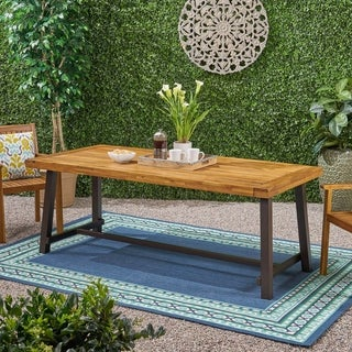 Link to Carlisle Outdoor Eight Seater Wooden Dining Table (Table Only) by Christopher Knight Home Similar Items in Patio Furniture