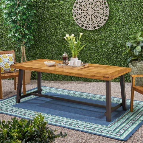 Christopher Knight Home Carlisle Brown Wood Outdoor 8 Seat Dining Table