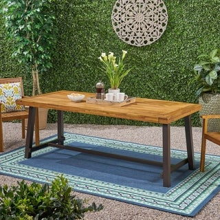 Carlisle Outdoor Eight Seater Wooden Dining Table (Table Only) by Christopher Knight Home