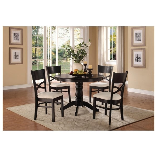 Transitional Wooden Dinette Pack with Four Chairs, Black and White, Pack of Five