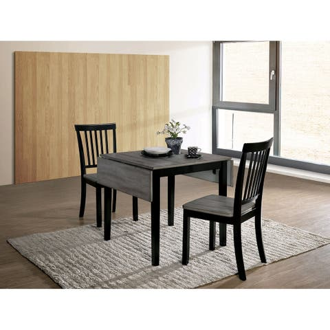 Transitional Style Solid Wood Dinning Set with Tapered Legs, Pack of Three, Gray and Black
