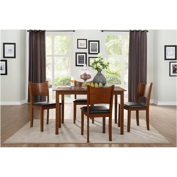Transitional Wooden and Bi Cast Vinyl Upholstered Dinette with Four Chairs, Brown, Pack of Five