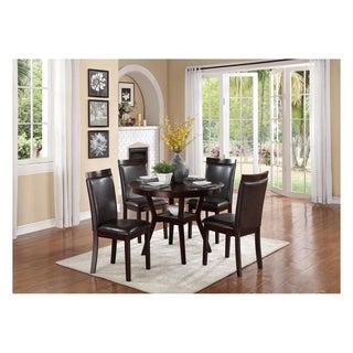 Transitional Wood and Bi Cast Vinyl Upholstered Dinette Pack with Four Chairs, Brown, Pack of Five