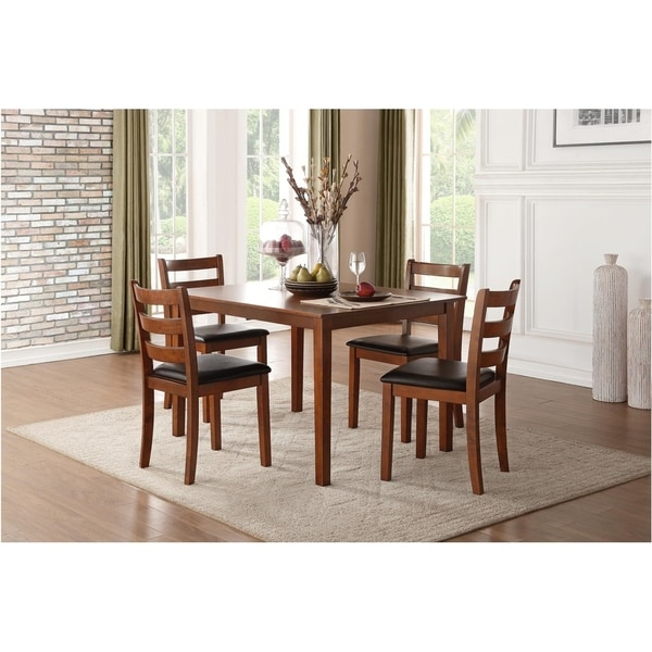 Transitional Wooden Dinette Pack with Four Chairs In Slated Backrest, Brown and Black, Pack of Five