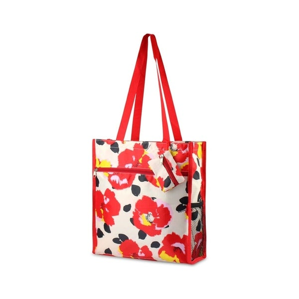 0746bfd61ac2 Zodaca Lightweight Zipper Tote Bag Carry Bag for Shopping Travel, Red Poppy  Print