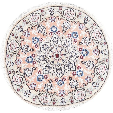 Gracewood Hollow Aujo Hand-knotted Floral Persian Wool Round Rug - 2'5