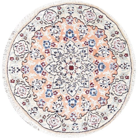 Copper Grove Dronninglund Orange/Rust Nain Floral Hand-Knotted Wool Persian Rug - 2'6 x 2'6 Round