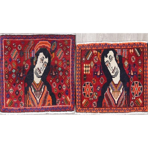 """The Curated Nomad Villanelle Pack of 2 Pictorial Hand-knotted Wool Persian Heirloom Item Area Rug - 1'9"""" x 1'8"""" Square"""