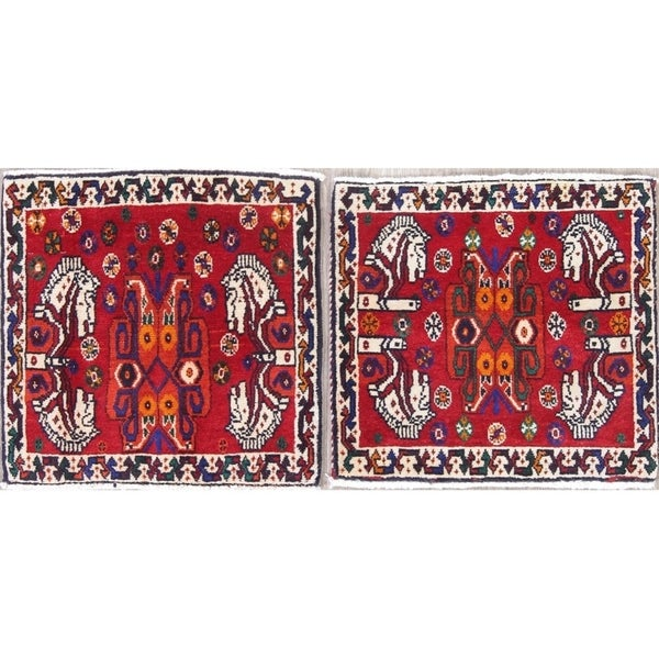 Copper Grove Brovst Pack of 2 Abadeh Tribal Animal Pictorial Hand-Knotted Wool Persian Heirloom Item Area Rug