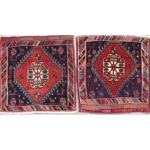 """The Curated Nomad Lusk Pack of 2 Geometric Hand-knotted Wool Persian Heirloom Item Area Rug - 1'9"""" x 1'9"""" Square"""