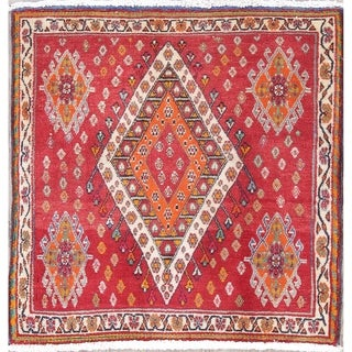 """The Curated Nomad Lusk Geometric Hand-knotted Wool Persian Heirloom Item Area Rug - 2'3"""" x 2'3"""" Square"""