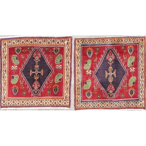 """The Curated Nomad Lusk Pair of Geometric Hand-knotted Wool Persian Heirloom Item Area Rug - 2'1"""" x 2'1"""" Square"""