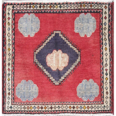 """The Curated Nomad Lusk Geometric Hand-knotted Wool Persian Heirloom Item Area Rug - 2'1"""" x 2'1"""" Square"""