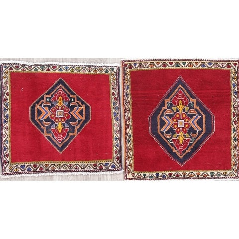 """The Curated Nomad Lusk Pack of 2 Tribal Geometric Hand-knotted Wool Persian Heirloom Item Area Rug - 2'0"""" x 1'11"""" Square"""