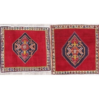 The Curated Nomad Lusk 2-piece Set Tribal Hand-knotted Wool Persian Heirloom Item Area Rug - 2' x 1'11 Square