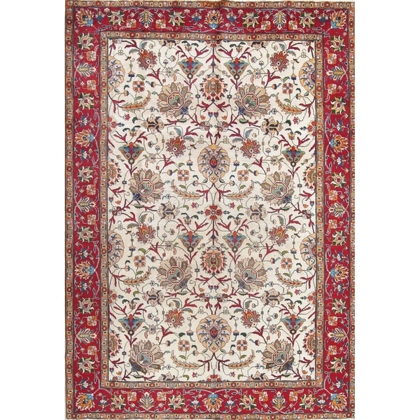 Hand Knotted Persian Tabriz Wool Area Rug Ebth: Shop Antique Tabriz All-Over Floral Hand-Knotted Wool