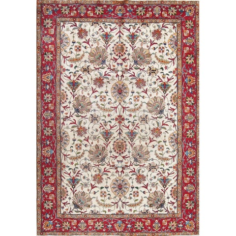 "The Curated Nomad Ashworth Antique Tabriz Floral Hand-knotted Wool Persian Heirloom Item Area Rug - 10'11"" x 7'4"""