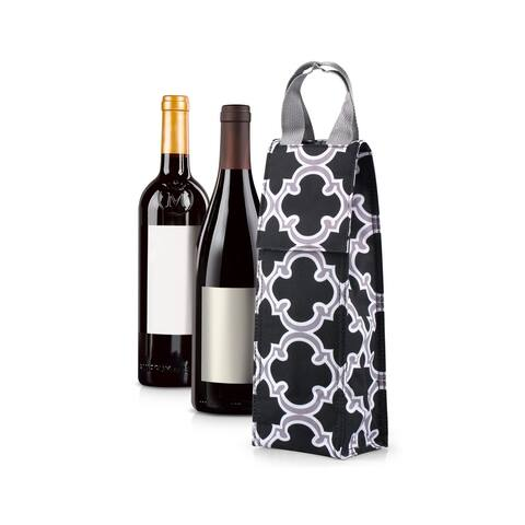 Zodaca Thermal Insulated Wine Carrier Wine Bottle Carrier Carrying Case, Black Quadrefoil