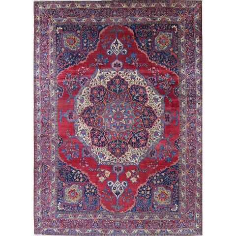 "The Curated Nomad Owen Antique Medallion Geometric Hand-knotted Wool Persian Heirloom Item Area Rug - 14'9"" x 10'8"""