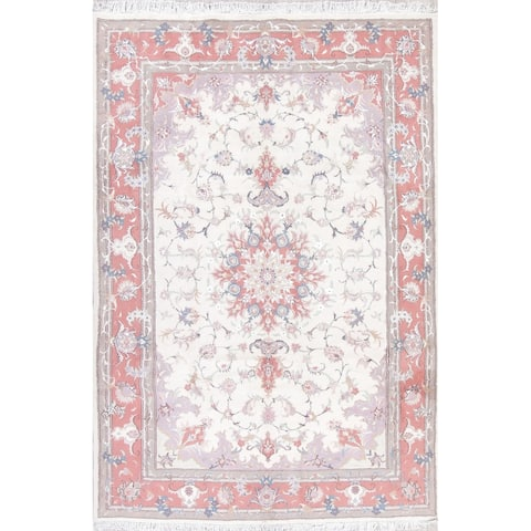 """The Curated Nomad Clyde Tabriz Floral Medallion Hand-knotted Wool/ Silk Persian Area Rug - 9'6"""" x 6'5"""""""