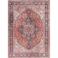 """The Curated Nomad Bruhlmann Antique Heriz Serapi Geometric Hand-knotted Wool Persian Heirloom Item Area Rug - 12'3"""" x 8'8"""""""