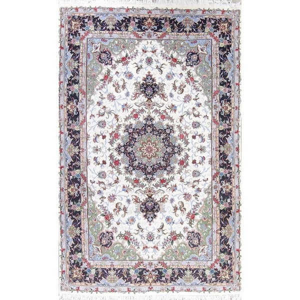 Persian Hand Knotted Nain Wool And Silk Area Rug Ebth: Shop Kashmar Floral Medallion Hand-Knotted Wool With Silk