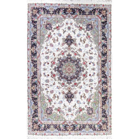 """The Curated Nomad Clyde Kashmar Floral Medallion Hand-knotted Wool/ Silk Persian Area Rug - 9'11"""" x 6'4"""""""