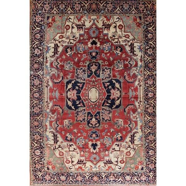 Gracewood Hollow Hamastegh Heriz Blend Handmade Geometric Handmade Wool Rug - 18'9 x 13'0