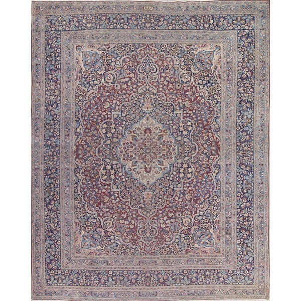 Shop Classical Kashan Medallion Hand Knotted Persian Wool: Shop Antique Mashad Signed Floral Medallion Hand-Knotted