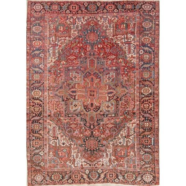 Vintage Persian Heriz Design Wool Area Rug: Shop Antique Heriz Serapi Tribal Geometric Handmade Wool