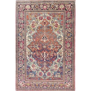 """The Curated Nomad Kay Antique Floral Hand-knotted Wool Persian Heirloom Item Area Rug - 7'1"""" x 4'5"""""""