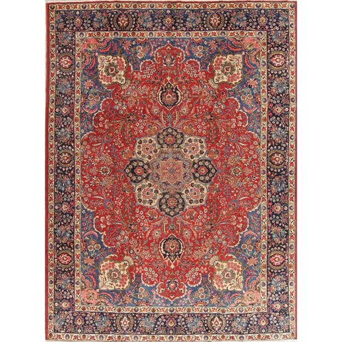 "The Curated Nomad Unsworth Vintage Tabriz Floral Medallion Hand-knotted Wool Persian Heirloom Item Area Rug - 11'5"" x 8'5"""