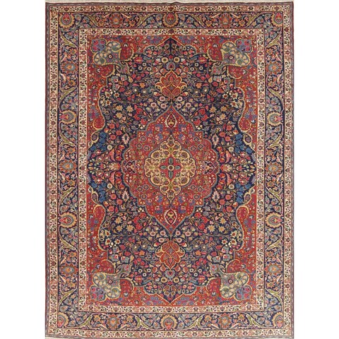 "The Curated Nomad Shaw Antique Tabriz Floral Medallion Handmade Wool Persian Heirloom Item Area Rug - 12'2"" x 8'11"""