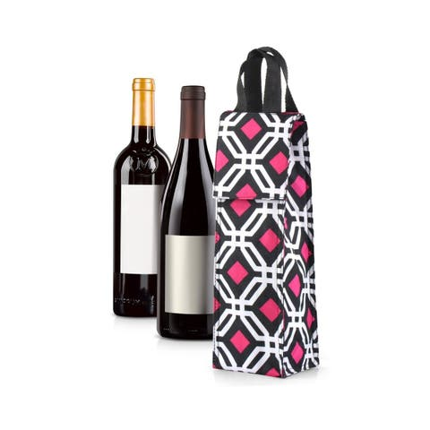 Zodaca Thermal Insulated Wine Carrier Wine Bottle Carrier Carrying Case, Black Graphic