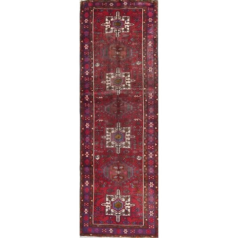 "The Curated Nomad Mears Vintage Heriz Tribal Geometric Hand-knotted Wool Persian Heirloom Item Area Rug - 10'10"" x 3'5"" Runner"