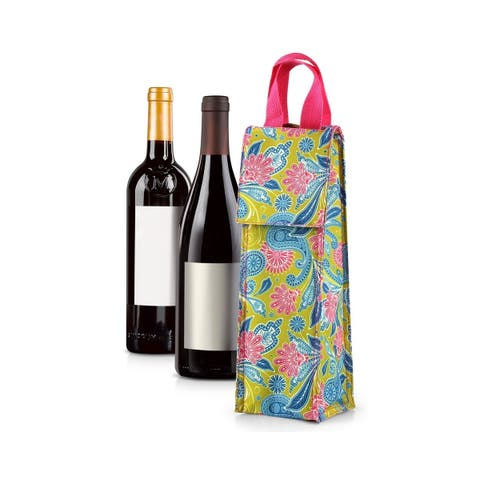 Zodaca Thermal Insulated Wine Carrier Wine Bottle Carrier Carrying Case, Green /Pink Paisley