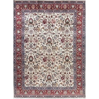 """The Curated Nomad Nessa Vintage Tabriz Floral Hand-knotted Wool Persian Heirloom Item Area Rug - 12'9"""" x 9'5"""""""